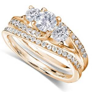 yellow gold wedding rings 1 carat trilogy wedding ring set in yellow gold jewelocean