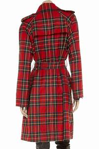 dolce gabbana plaid wool trench coat in lyst