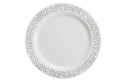 """1025"""" Luxury Lace Disposable Plastic Plates Ivorygold"""
