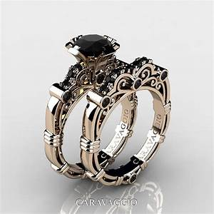 Art masters caravaggio 14k rose gold 10 ct black diamond for Gold engagement rings and wedding bands