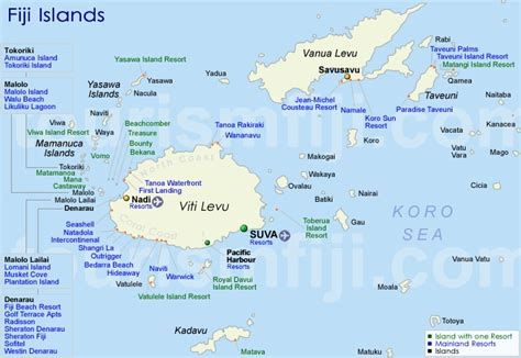 fiji map accommodation map  fiji islands