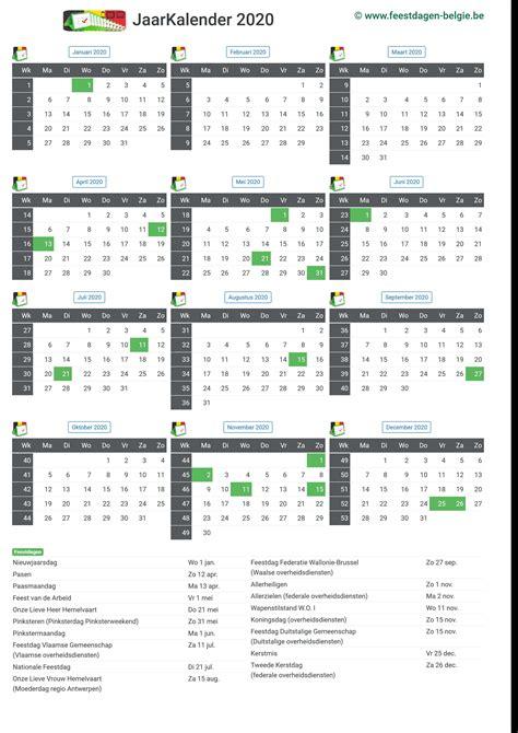 kalender jaarkalender belgie verlengde weekends feestdagen