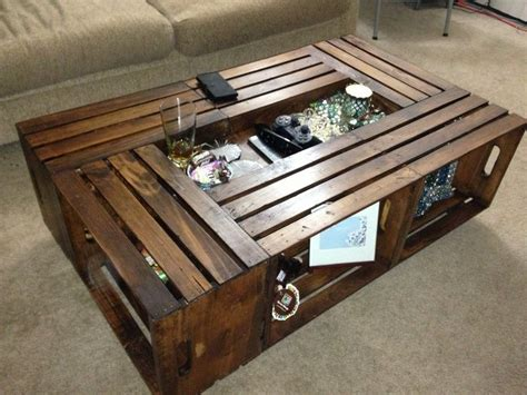 Making a wooden coffee table from scratch might be difficult because it involves a lot of efforts such as cutting the wood pieces and assembling them i came across this nice diy project to repurpose recycled wooden crates into a nice coffee table. black crate coffee table - Google Search   Things To Make   Pinterest   Crates, DIY furniture ...