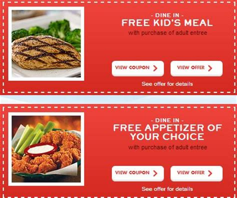 Chili's Coupons Free Kid's Meal, Appetizer, Dessert And