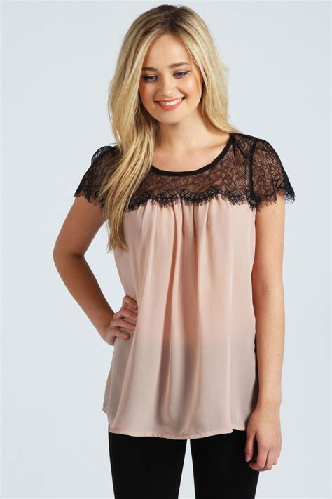 blouson blouse boohoo lydia lace trim sleeveless chiffon blouse ebay