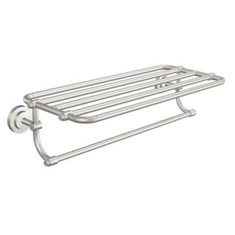 bathroom shelf with towel bar brushed nickel shop moen iso spot resist brushed nickel rack towel bar