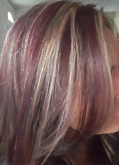 brown hair  blonde highlights  burgundy lowlights