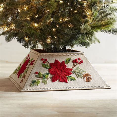 embroidered poinsettia tree collar  pier  imports