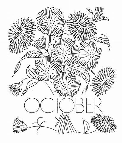 Embroidery Flower October Month Flowers Patterns Pattern