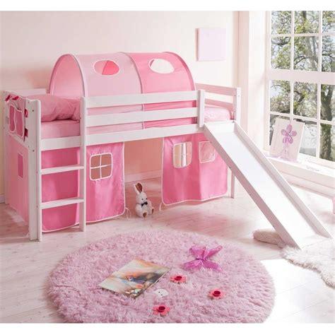 Kinderbett Lena In Weiß Mit Rutsche Und Vorhang Wohnende