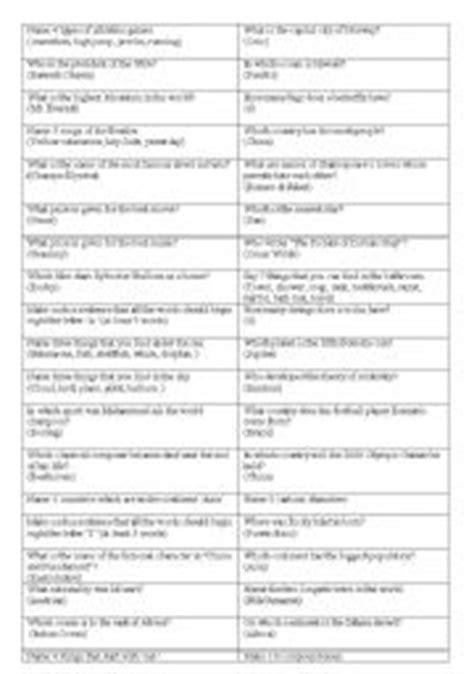 general knowledge quiz  print printable  degree