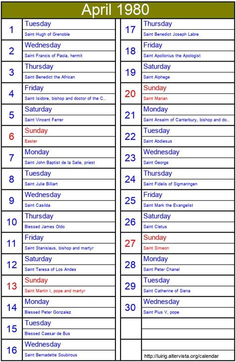 april  roman catholic saints calendar