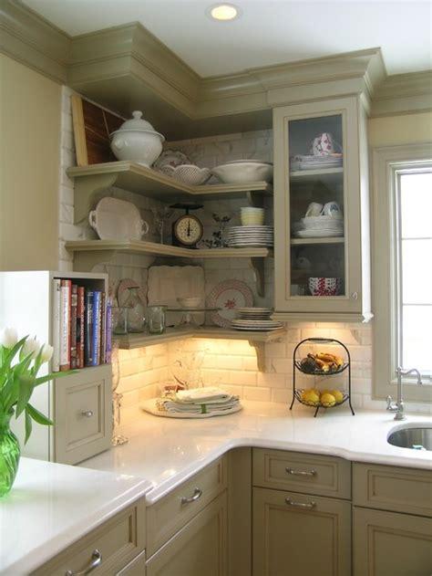kitchen corner open shelves