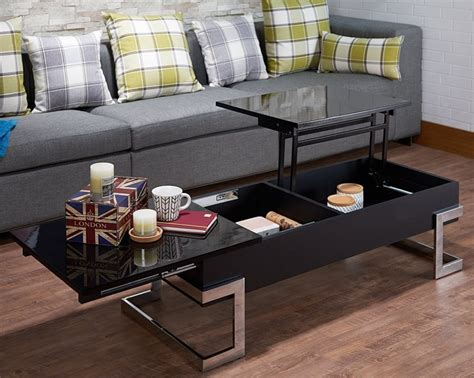 Building a hidden lift top / dual height coffee table, with retro style hairpin legs and storage cubby. Modern Lift Top Coffee Table with Storage, Black & Chrome