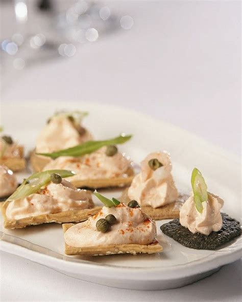 smoked salmon mousse canapes and smoked salmon on