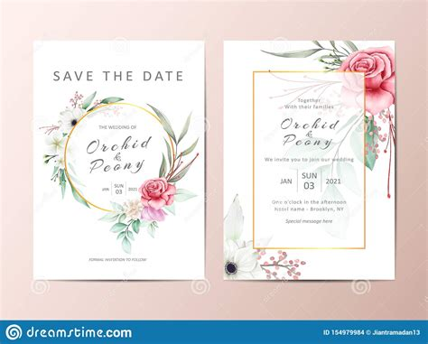 Elegant Wedding Invitation Template Cards With Watercolor