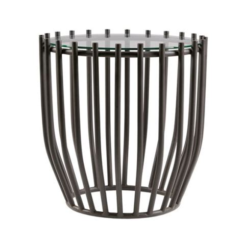 metal drum accent table metal drum style glass top accent end table