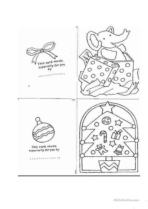 christmas card templates worksheet  esl printable