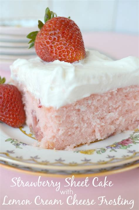strawberry sheet cake with lemon cheese frosting
