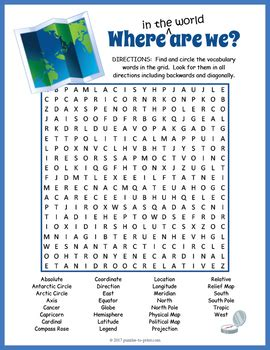map vocabulary word search  puzzles  print tpt