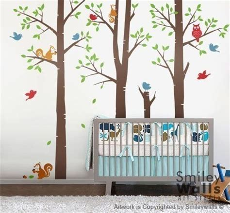 Tree Wall Decals Stickers Forest Trees Wall Decal Birch Trees