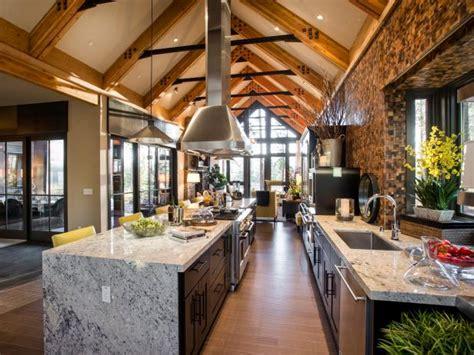 large open kitchen  long granite island hgtv