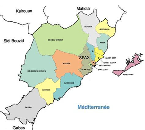 Carte du Gouvernorat de Sfax, Tunisie