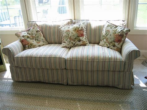 white sofa pillows striped sofa a crisp cotton stripe gives a cottage look