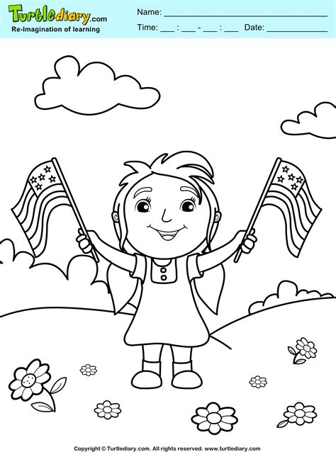 july holiday coloring sheet turtle diary