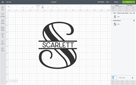 create  split monogram  cricut design space