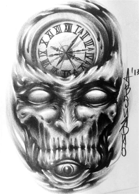 Scary Clock Skull Tattoo Design (With images) | Skulls