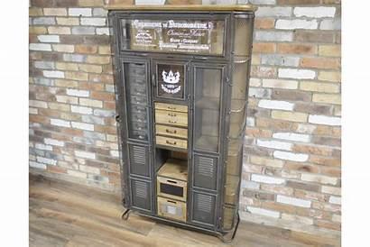 Metal Cabinet Glazed Industrial Tall Storage Wood
