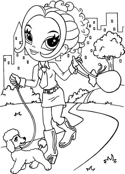 dibujo  colorear la muchacha esta paseando  su mascota