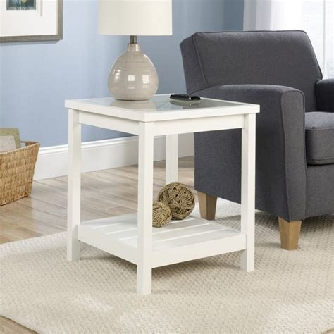 cottage window treatments end table in white 416136