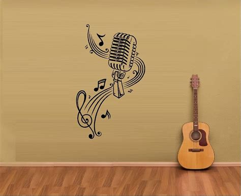 Note Wall Decor - notes sheet microphone vinyl wall decal