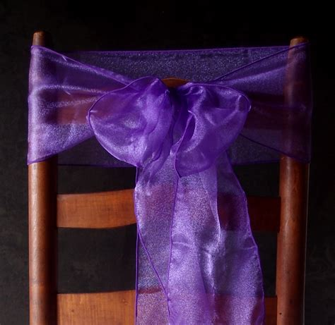 purple organza chair sashes bows table runners 6 5in