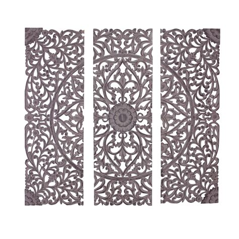 Lotus flower teak wood hand carved home decor wall panel. Woodland Imports 3 Piece The Must Have Wood Carved Panel Wall Décor Set | Wayfair