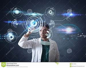Doctor With Futuristic Touchscreen Interface Stock Images ...