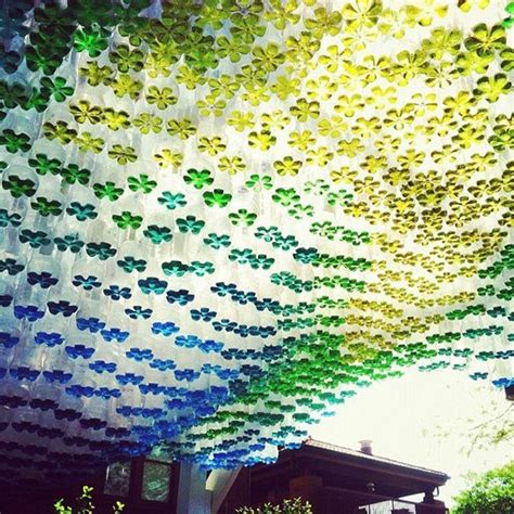 recycled plastic bottles   diy parking canopy