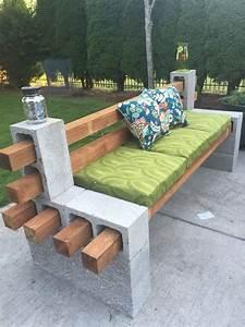 sitzbank aus holzlatten und betonziegel mit rucklehne With feuerstelle garten mit hpl platten balkon