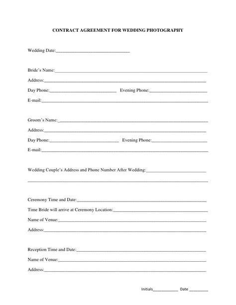 printable sample wedding photography contract template