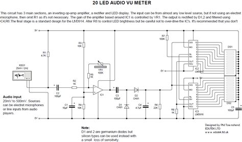 led audio vu meter circuit diagram