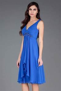 robe habillee bleu de cocktail decolletee en v ornee de With robe habillée pour mariage avec diamant bijoux