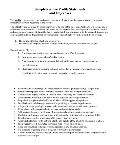 Objectives For Resumes Exles by Sle Resume Objective Exle 7 Exles In Pdf