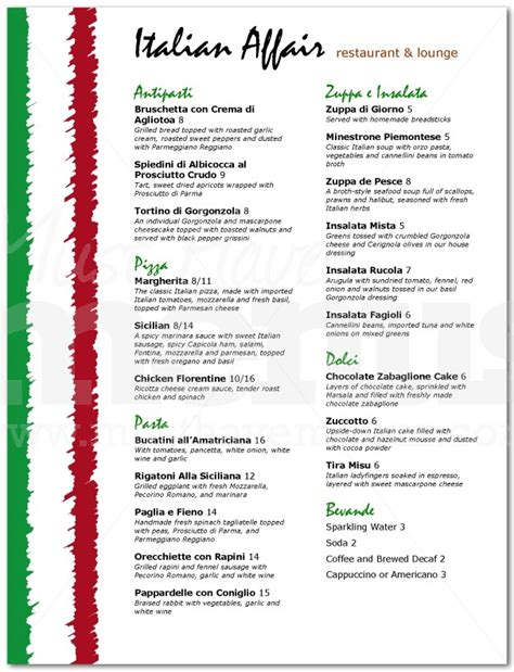 the gallery for gt italian food menu list