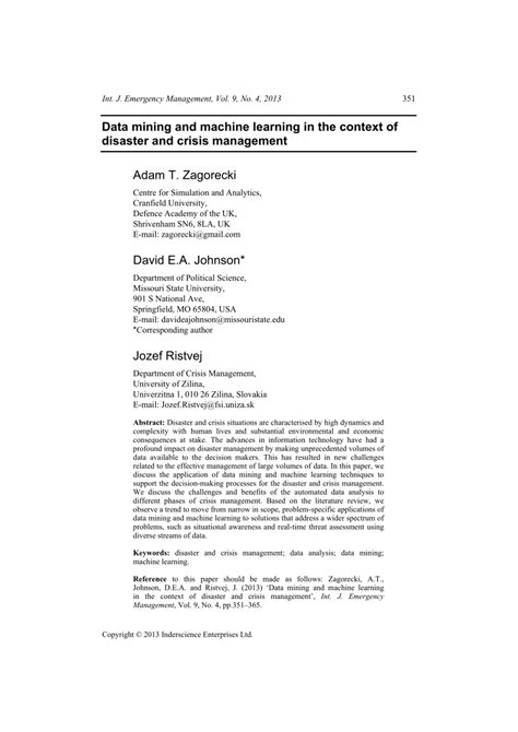 (PDF) Data mining and machine learning in the context of