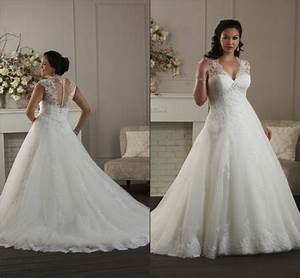 Plus size wedding dresses with cap sleeves wedding dress for Wedding dress sizing