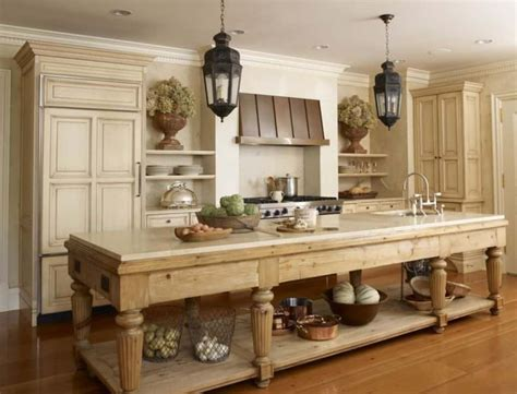 elegant kitchen furnished  narrow farmhouse table