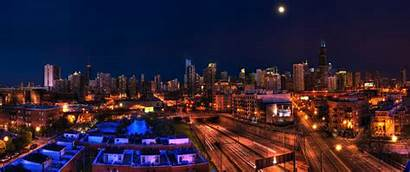 Ultrawide Night Hdr Chicago Skyline Cityscape Panorama
