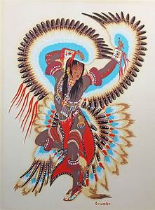 """Vintage Silkscreen """"Eagle Dancer"""" by Potawatomi Indian Woody Crumbo - Vintage, Dancers and Woody Indian Tobacco"""